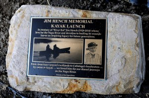 The plaque commemorating the Jim Hench Memorial Kayak Launch: freshly blessed with water from the Napa River.